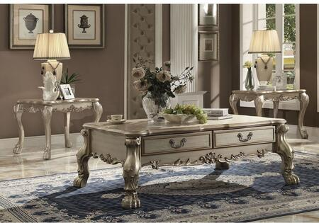 Dresden 82090CET 3 PC Living Room Table Set with Coffee Table + 2 End Tables in Gold Patina