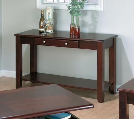 280-4 Vintner Wood Sofa Table with Single Pullout Drawer and Bottom Storage and Display Shelf in a Merlot