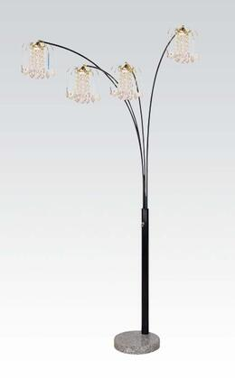 03678BK Lamp Floor Lamp - Shade & Stand  Black Metal and Crystalline