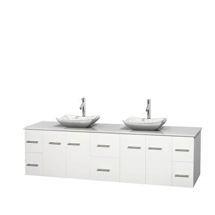 WCVW00980DWHWSGS3MXX 80 in. Double Bathroom Vanity in White  White Man-Made Stone Countertop  Avalon White Carrera Marble Sinks  and No