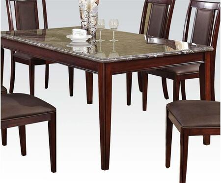 Camelot Collection 70700 64 inch  Dining Table with Black Marble Top  Tapered Legs and Wood Veneer Materials in Espresso