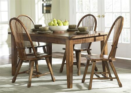 Treasures Collection 17-CD-5PCS 5-Piece Dining Room Set with Dining Table and 4 Oak Side Chairs in Rustic Oak