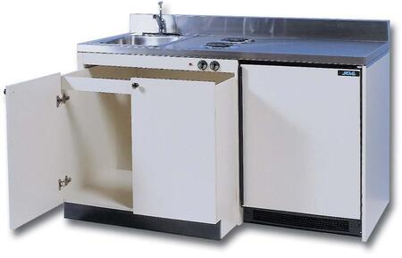 RES63BFA Barrier Free Kitchenettes Compact Kitchens with Removable Undersink Cabinet  2 Electric Burners and 6.0 cu. ft. Removable Automatic Defrost