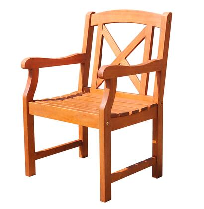 V1643 Malibu Eco-Friendly Outdoor Hardwood Garden Arm Chair  Natural