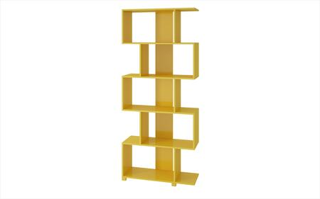 Petrolina Collection 18AMC130 31 inch  Bookcase with 5 Zig-Zag Shelves and Modern Style in Yellow