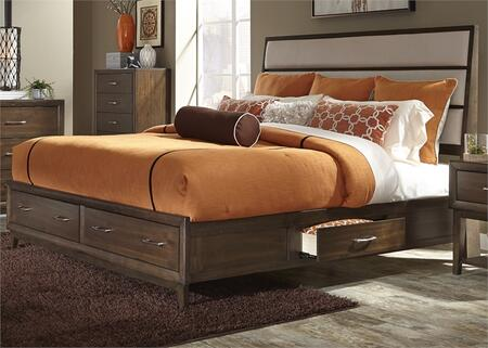 Hudson Square Collection 365-BR-K2S King Two Sided Storage Bed with 4 Drawers  Tapered Legs and Linen Upholstered Panel Headboard in