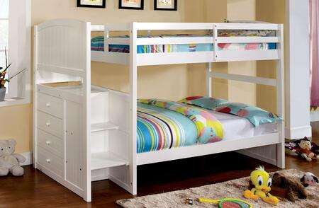 Appenzell Collection CM-BK922T-BED Twin Size Bunk Bed with Built-In Drawers  Front Access Steps  Solid Wood and Wood Veneer Construction in White