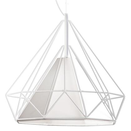 246-181P-WH 1 Light Metal Framed Pendant With White Shade  White