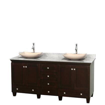 Wcv800072descmgs5mxx 72 In. Double Bathroom Vanity In Espresso  White Carrera Marble Countertop  Arista Ivory Marble Sinks  And No