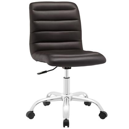 Ripple Collection EEI-1532-BRN Armless Office Chair with Swivel Seat  Adjustable Height  Polished Chrome Hooded Base  Five Dual-Wheel Nylon Casters  Mid High