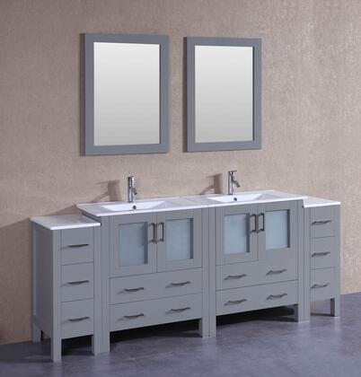 AGR230U2S 84 inch  Double Vanity with White Ceramic Top  Integrated Sink  F-S01 Faucet  Mirror  4 Doors and 10 Drawers in