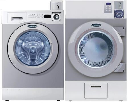 Grey Front Load Coin Operated Laundry Pair with WHWF09810M 27 inch  Washer and DAWF0EM 28 inch  Electric