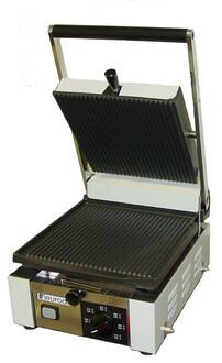 Elio Small Full Top Panini Grill With Cast Iron Plates  Heavy Duty Construction In Stainless Steel 663699