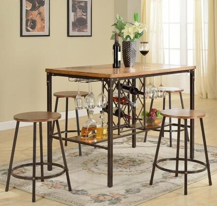 Baxton Studio CDC252 5PC Pub Set with Table + 4 Stools  Wine Bottle Cage  Wine Glass Racks  Medium-Density Fiberboard and Powder-Coated Metal in
