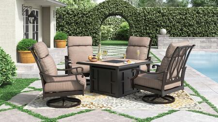 Chestnut Ridge Collection P445-772-821 5-Piece Patio Set with Square Outdoor Fire Pit Table and 4 Swivel Lounge Chairs in