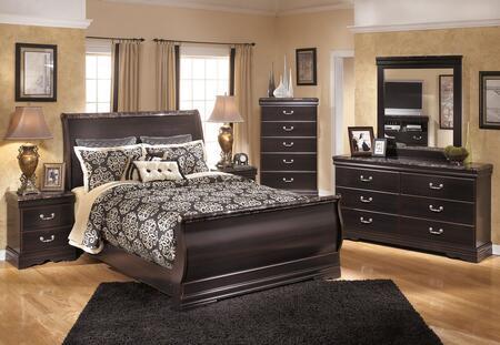 Esmarelda Queen Bedroom Set With Sleigh Bed  Dresser  Mirror And Nightstand In Dark