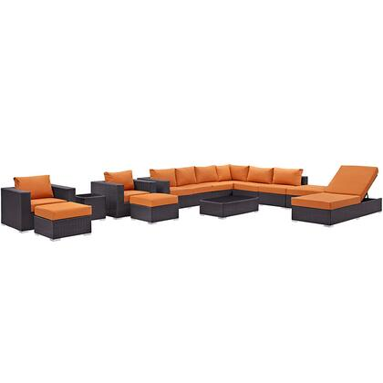 Convene Collection EEI-2165-EXP-ORA-SET 12-Piece Outdoor Patio Sectional Set with Chaise Lounge  Coffee Table  Side Table  Square Ottoman  2 Armchairs  2