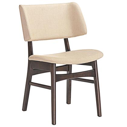 Vestige Collection EEI-1610-WAL-BEI Dining Side Chair with Wood-Grained Dark Walnut Veneer Materials  Foam Filled Cushion and Linen Upholstery in Walnut Beige