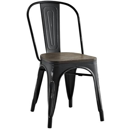 Promenade Collection EEI-2028-BLK Dining Side Chair with Non-Marking Feet Caps  Modern Style  Laminated Bamboo Seat and Powder Coated Steel Frame in Black