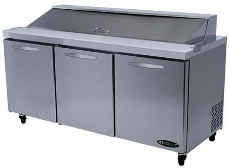 KSTM723 72 inch  Sandwich Prep Tables Mega Tops with 19.6 cu. ft. Capacity  3 Doors  3 Shelves  30 Pans  3/8 HP  in Stainless