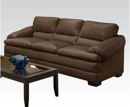 Rosalie Collection 51265 Sofa with Pillow Top Arms  Split Back Cushions and Bonded Leather Match Upholstery in Coach Godiva