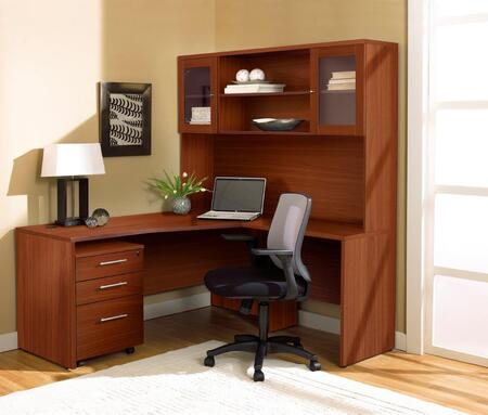 1C100002RCH Cherry Corner L Shaped Desk with Hutch and Mobile
