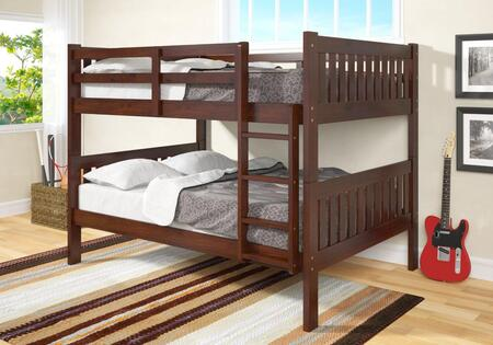 1015-3FFCP Full Over Full Bunk Bed with Built in Ladder  Slat Headboards and Footboards in Dark