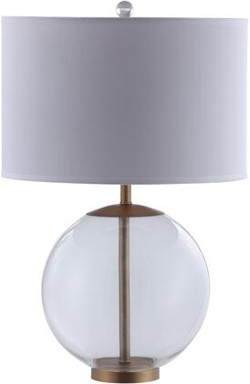 Lamps Collection 961227 Table Lamp with Clear Glass Base  Brass Metal Accents  Bulb Not Included and Fabric Drum Shade in White