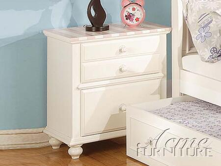 11039 Zoe White Nightstand with Pink Striped 263716