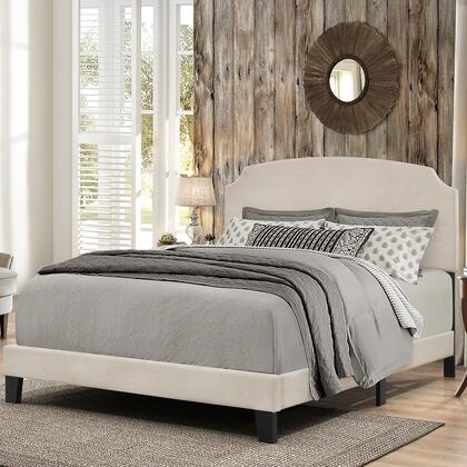 Desi Collection 2036-661 King Size Bed with Headboard  Footboard  Rails  Fabric Upholstery and Low Profile Design in