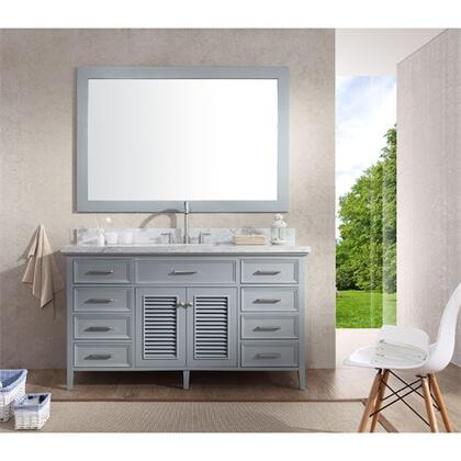 D061SGRY Ariel Kensington 61 Single Sink Vanity Set with Marble Top  Mirror  Eight Drawers and Two Doors in