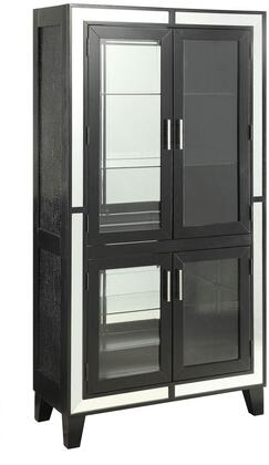 Caree Collection 90171 36 inch  Curio Cabinet with 4 Glass Doors  5 Tier Shelves  3mm Back Mirror  Single Touch Light  Poplar Wood and Basswood Veneer Materials in