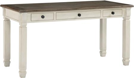 Bolanburg H647-44 Home Office Desk with 3 Drawers  Simple Pulls and Turned Legs in Weathered Oak and Antique White