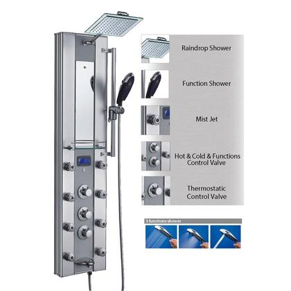 AK-62318 51 Aluminum Thermostatic Shower Panel Tower Rainfall