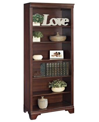 Belcourt ER-BLC-OBK72-D 71 inch  Tall 6-Shelf Bookcase with Molding Details  Fully Finished Side and Back Panels and Constructed with Wood Veneers in Cherry