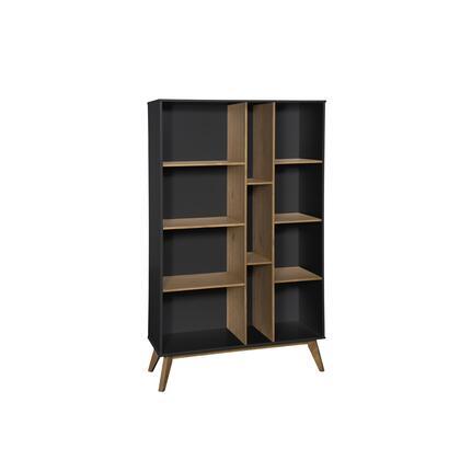 CS92409 Mid-Century Modern Vandalia Bookcase In Dark Grey And Natural
