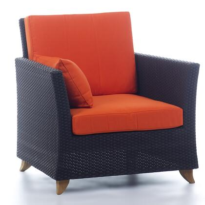 PR30-O 33 inch  Rattan Deep Seating Arm Chair with Solid Teak Legs  Heavy-Gauge Aluminum Frame and Water Resistant Polyester Fabric Cushion in