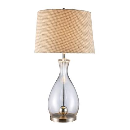 D1975 Longport Table Lamp In Clear Glass And Chrome With Linen