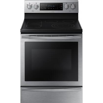 "NE59J7650WS 30"" 5.9 cu. ft. Freestanding Electric Range with  5 Smooth Top Electric Elements  Warming Drawer  True Convection Oven  Steamquick and Hot Surface"