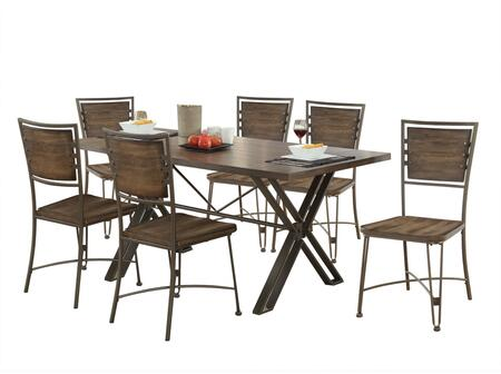 Jodoc Collection 72345SET 7 PC Dining Room Set with Dining Table + 6 Side Chairs in Walnut and Gunmetal