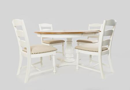 Castle Hill Collection 177666TBKTSET 5 PC Dining Room Set with Dining Table + 4 Ladder Back Chairs in Antique White and Oak