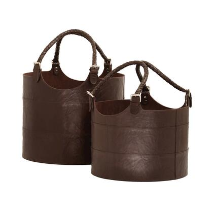 819007 Nested Espresso Leather Buckets - Set of 2