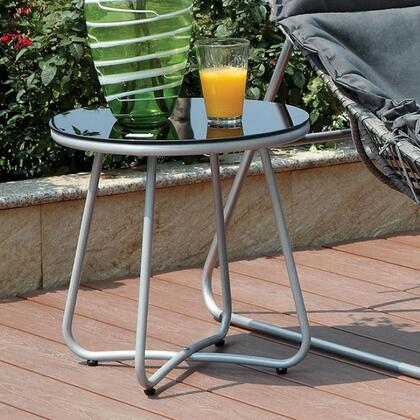 Lili CM-OC2120-T Side Table with Contemporary Style  5mm Black Tempered Glass Top in