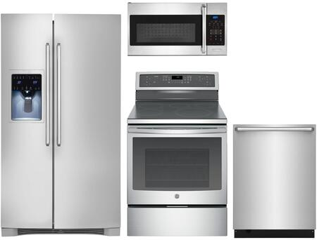 4-Piece Kitchen Package with EI26SS30JS 36 inch  Side By Side Refrigerator  EI30IF40LS 30 inch  Electric Freestanding Range  EI24ID50QS 24 inch  Built In Dishwasher and