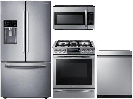 4-Piece Kitchen Package with RF23HCEDBSR 36 inch  Counter Depth French Door Refrigerator  NX58H9500WS 30 inch  Slide-in Gas Range  ME18H704SFS 30 inch  Over the Range