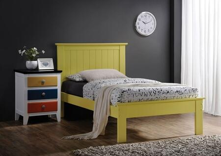 Prentiss Collection 25425TN 2 PC Bedroom Set with Twin Size Bed + Nightstand in Yellow