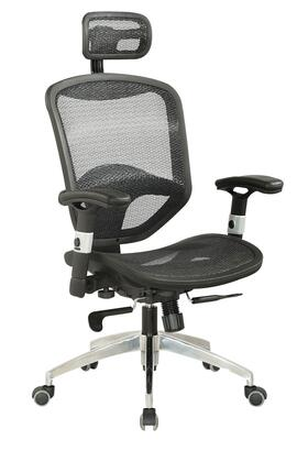 4025-CCH Mesh Seat & Back with Headrest Multi Adjustable Pneumatic Gas Lift Office Chair - Black /