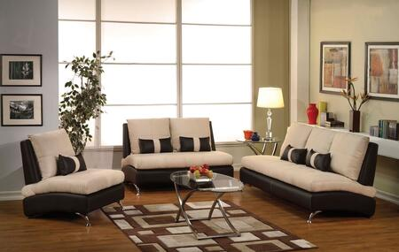 Jolie 51755SLC 3 PC Living Room Set with Sofa + Loveseat + Armchair in Sand