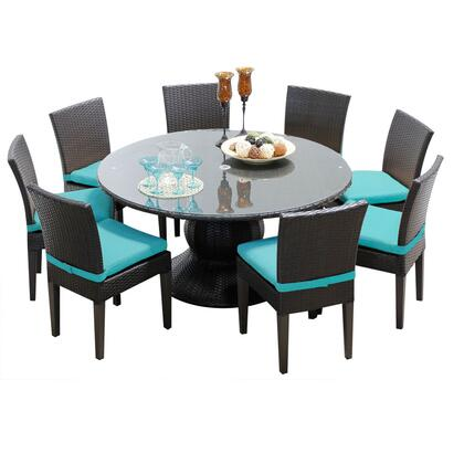 Napa-60-kit-8c-aruba Napa 60 Inch Outdoor Patio Dining Table With 8 Armless Chairs With 2 Covers: Wheat And
