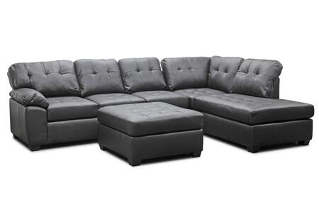 R7470 3PC-CHOCOLATE Baxton Studio Mario Leather Modern Sofa With Ottoman Sectional  In